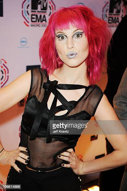 Musician Hayley Williams of Paramore attends the MTV Europe Music Awards 2010 at La Caja Magica on November 7, 2010 in Madrid, Spain.