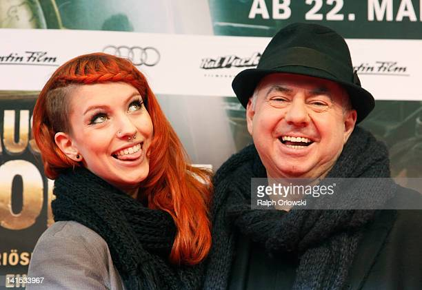 Musician Helmut Zerlett and his daughter Jana arrive for the premiere of 'Das Haus der Krokodile' on March 18 2012 in Frankfurt am Main Germany