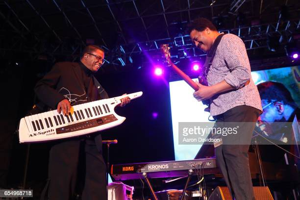 Musician Herbie Hancock and James Genus perform on stage at The 12th Annual Jazz In The Gardens Music Festival Day 1 at Hard Rock Stadium on March 18...