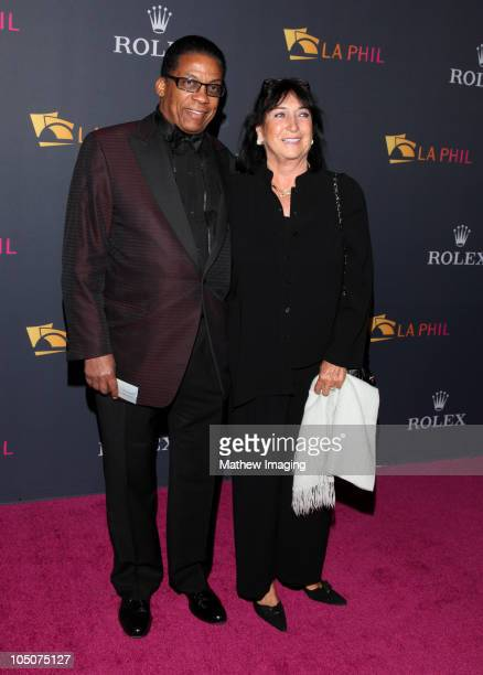 Musician Herbie Hancock and wife Gigi Hancock arrive at the Los Angeles Philharmonic Opening Night Gala at the Walt Disney Concert Hall on October 7...