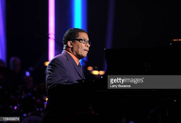 Musician Herbie Hancock performs onstage at 2011 MusiCares Person of the Year Tribute to Barbra Streisand at Los Angeles Convention Center on...