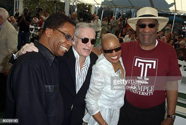 Musician Herbie Hancock publisher Hugh M Hefner musician Dee Dee Bridgewater and actor Bill Cosby participate in the Playboy Jazz Festival press...