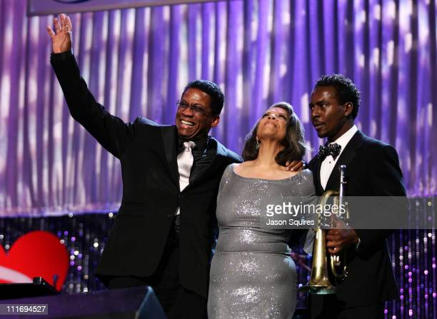 Musician Herbie Hancock Singer Patti Austin and Musician Roy Hargrove during the 2008 MusiCares Person of the Year Honors Aretha Franklin at the Los...