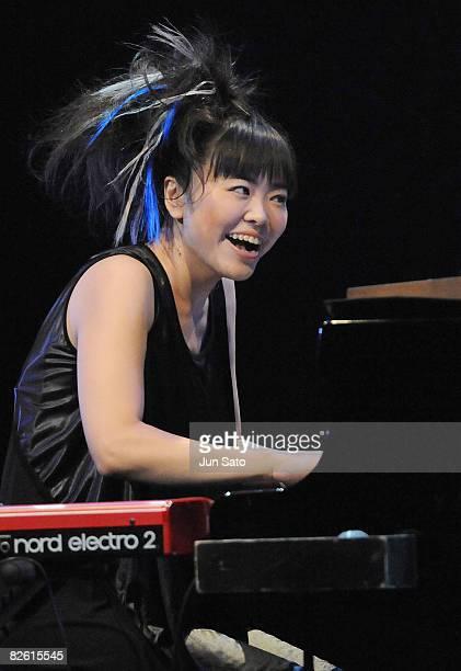 Musician Hiromi Uehara performs during Tokyo Jazz 2008 at Tokyo International Forum on August 31 2008 in Tokyo Japan