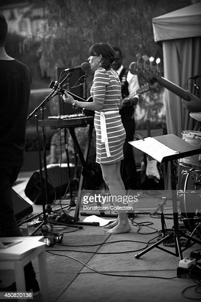 """Musician Holland Greco performs onstage with her band at the Zappa Records release of her album """"Volume 1"""" on the roof of the Andaz Hotel, formerly..."""
