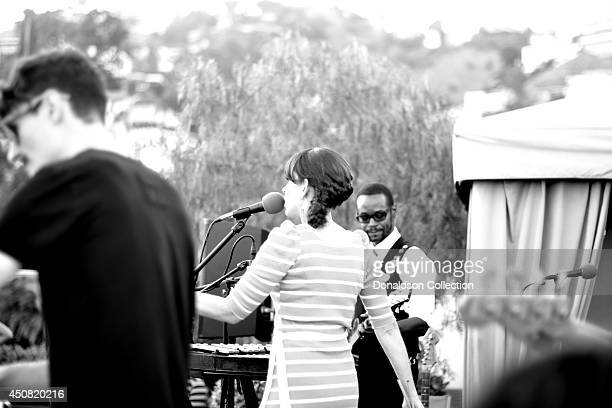 """Musician Holland Greco performs with Clark Dark on the guitar for the Zappa Records release of her album """"Volume 1"""" on the roof of the Andaz Hotel,..."""