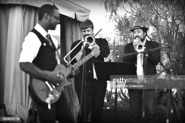 Musician Holland Greco's band including guitarist Clark Dark, Elizabeth Lea on the Trombone and Jordan Katz on trumpet at the Zappa Records release...