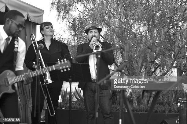 Musician Holland Greco's band including guitarist Clark Dark, Elizabeth Lea on trombone and Jordan Katz on trumpet perform onstage at the Zappa...