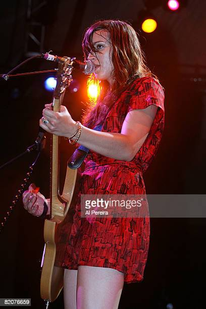Musician Holly Miranda of Jealous Girlfriends performs when Ghostland Observatory headlines during the 30th Celebrate Brooklyn Summer Season at the...