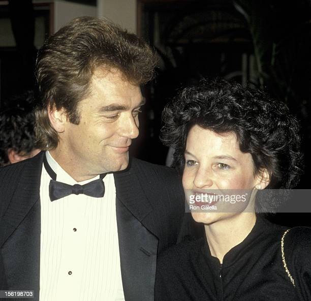Musician Huey Lewis and wife Sidney Conroy attend 43rd Annual Golden Globe Awards on January 24 1986 at the Beverly Hilton Hotel in Beverly Hills...