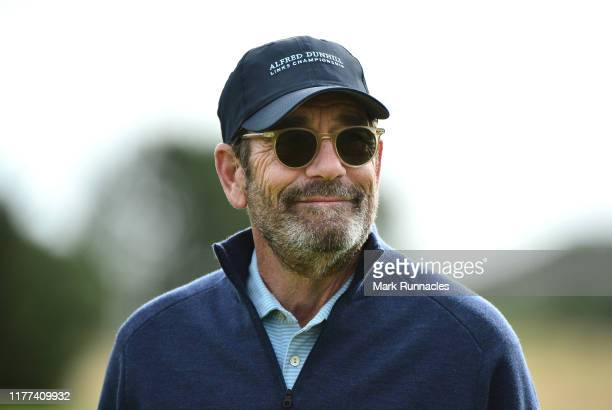 Musician Huey Lewis on the 14th hole during Day two of the Alfred Dunhill Links Championship at Carnoustie Golf Links on September 27 2019 in St...