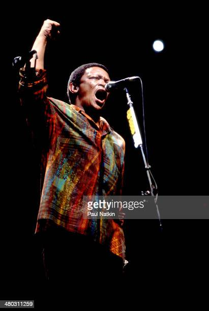 Musician Hugh Masakela performs onstage Chicago Illinois March 13 1987