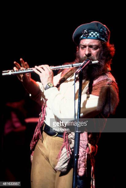 Musician Ian Anderson of the group Jethro Tull performs onstage Chicago Illinois September 12 1982