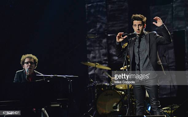Musician Ian Axel and Chad Vaccarino of the band A Great Big World perform during the Pinoy Relief Benefit concert at Madison Square Garden on March...