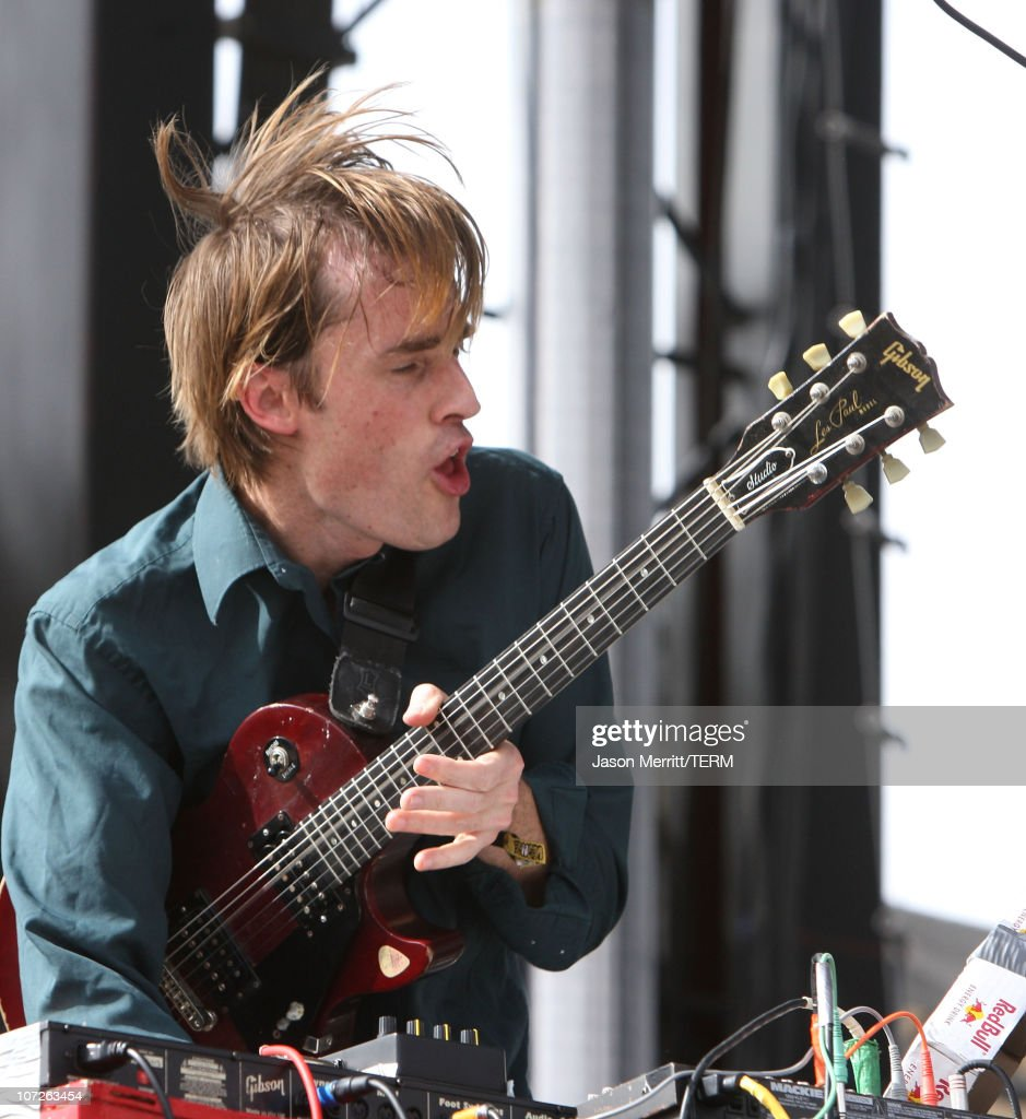 Musician Ian Williams of the band 'Battles' performs during the Vegoose Music Festival 2007 at Sam Boyd Stadium on October 27, 2007 in Las Vegas, Nevada.
