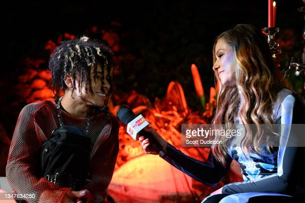 Musician Iann Dior and Allison Hagendorf attend the NoCap x Travis Barker House of Horrors concert at Private Residence on October 19, 2021 in...