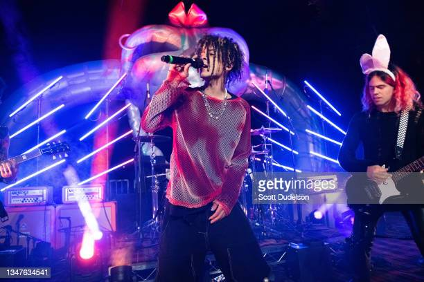 Musician Iann Dior performs onstage during the NoCap x Travis Barker House of Horrors concert at Private Residence on October 19, 2021 in Malibu,...