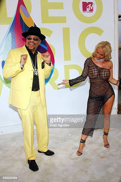 Musician Ice T and Coco arrive at the 2005 MTV Video Music Awards at the American Airlines Arena on August 28 2005 in Miami Florida