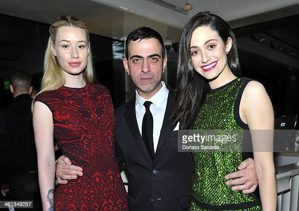 Musician Iggy Azalea designer Antonio Berardi and actress Emmy Rossum attend Private Antonio Berardi dinner on January 7 2014 in Beverly Hills...