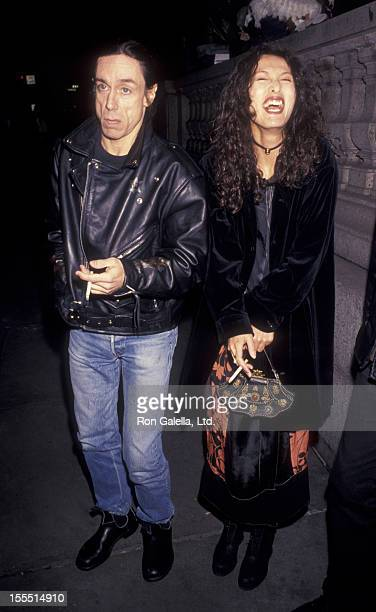 Musician Iggy Pop and wife Suchi Asano attend Anna Sui Fashion Show on March 31 1993 at the New York Public Library in New York City