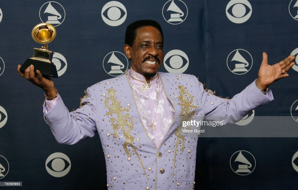 Musician Ike Turner poses with his Grammy for Best Traditional Blues Album for 'Risin' With The Blues' in the press room at the 49th Annual Grammy Awards at the Staples Center on February 11, 2007 in Los Angeles, California.