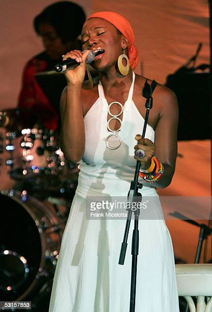 Musician IndiaArie performs during ASCAP's 18th Annual Rhythm and Soul Music Awards Gala at the Beverly Hills Hilton on June 27 2005 in Beverly Hills...