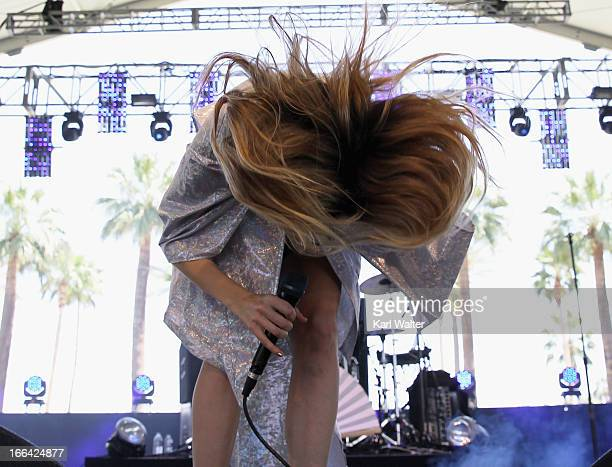 Musician Ioanna Gika of Io Echo performs onstage during day 1 of the 2013 Coachella Valley Music Arts Festival at the Empire Polo Club on April 12...