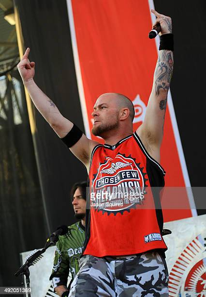 Musician Ivan Moody of Five Finger Death Punch performs during 2014 Rock On The Range at Columbus Crew Stadium on May 18 2014 in Columbus Ohio