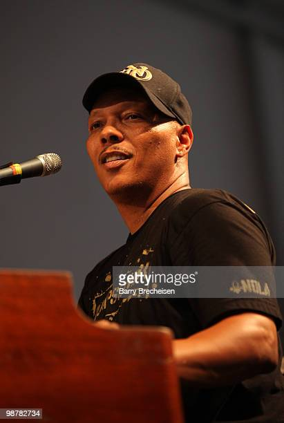 Musician Ivan Neville of the New Orleans Social Club performs during day 5 of the 41st Annual New Orleans Jazz Heritage Festival at the Fair Grounds...