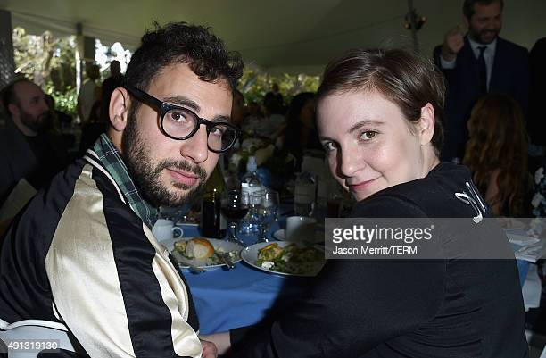 Musician Jack Antonoff and actress/writer Lena Dunham attend The Rape Foundation's annual brunch at Greenacres The Private Estate of Ron Burkle on...