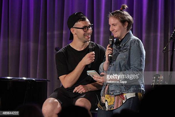 Musician Jack Antonoff and Lena Dunham perform at AUDIBLE IMPACT Music Activism at on August 28 2015 in Los Angeles California
