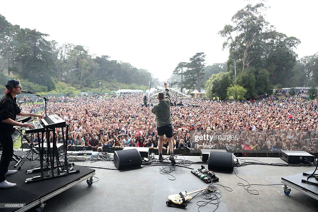 Musician Jack Antonoff (C) of the band Bleachers performs at the Twin Peaks Stage during day 1 of the 2014 Outside Lands Music and Arts Festival at Golden Gate Park on August 8, 2014 in San Francisco, California.