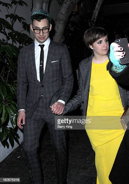 Musician Jack Antonoff of the band fun. And actress Lena Dunham attend the Warner Music Group 2013 Grammy celebration at Chateau Marmont on February...