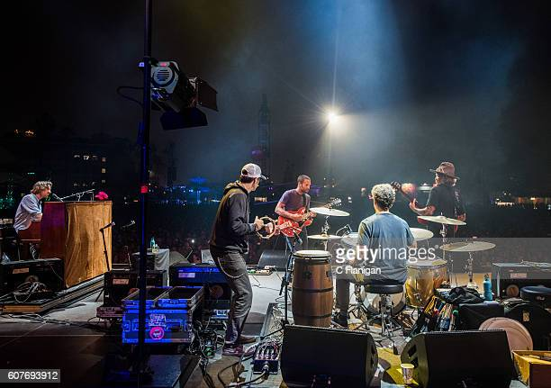 Musician Jack Johnson and guests perform on the Sunset Cliffs Stage during the 2016 KAABOO Del Mar at the Del Mar Fairgrounds on September 18 2016 in...