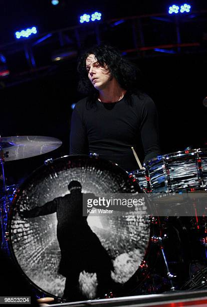 Musician Jack White of the band The Dead Weather performs during day two of the Coachella Valley Music Arts Festival 2010 held at the Empire Polo...