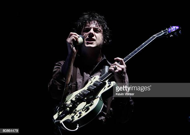 Musician Jack White of The Raconteurs performs during day 1 of the Coachella Valley Music And Arts Festival held at the Empire Polo Field on April 25...