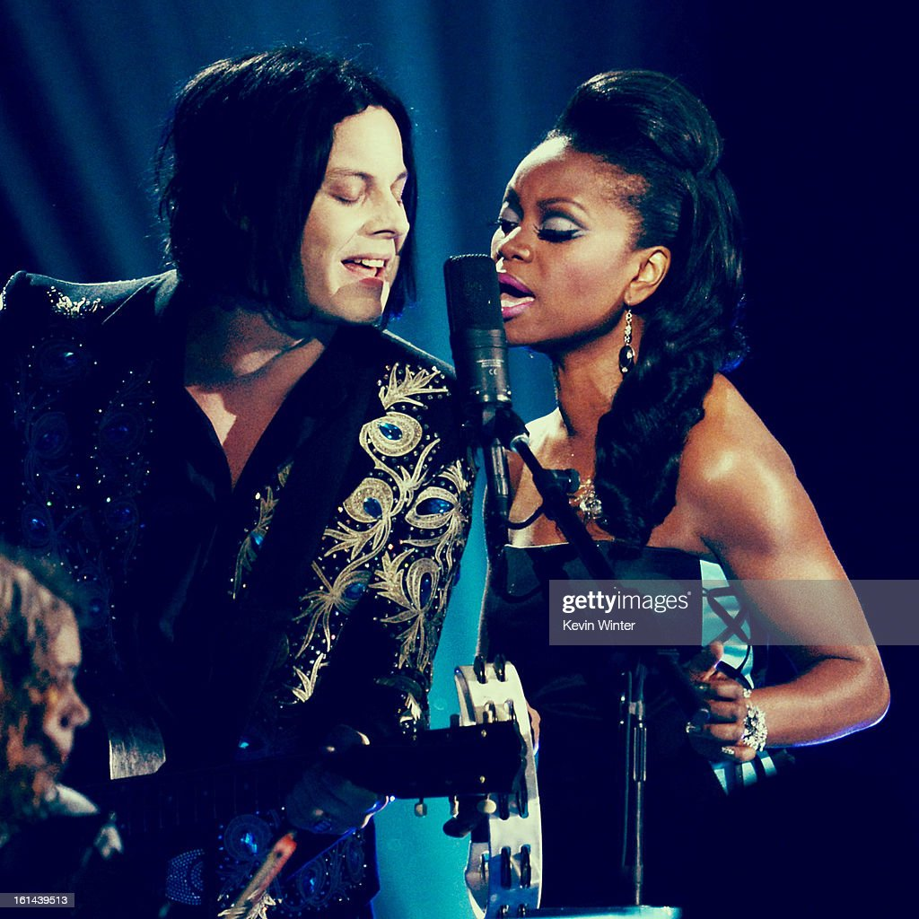 Musician Jack White (L) performs onstage during the 55th Annual GRAMMY Awards at STAPLES Center on February 10, 2013 in Los Angeles, California.