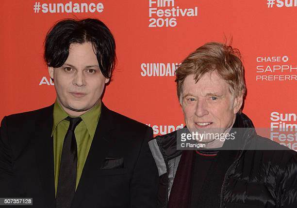 Musician Jack White poses with Actor/Director and Founder of the Sundance Film Festival Robert Redford at the 'American Epic' Premiere during the...