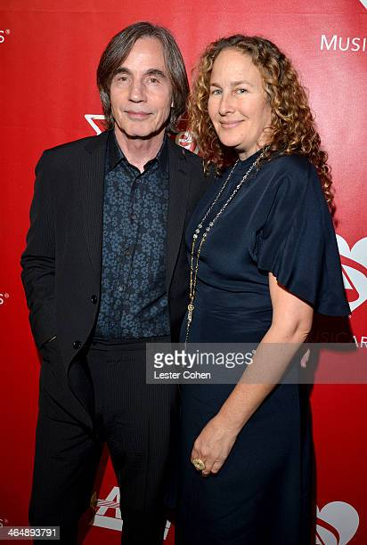 Musician Jackson Browne and Dianna Cohen attend 2014 MusiCares Person Of The Year Honoring Carole King at Los Angeles Convention Center on January...