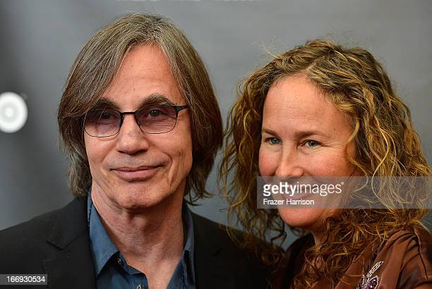 Musician Jackson Browne and wife Dianna Cohen attend the 28th Annual Rock and Roll Hall of Fame Induction Ceremony at Nokia Theatre LA Live on April...