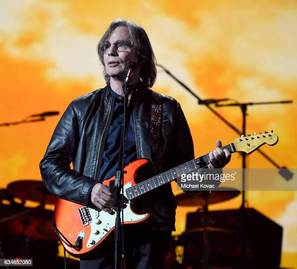 Musician Jackson Browne performs onstage during MusiCares Person of the Year honoring Tom Petty at the Los Angeles Convention Center on February 10...