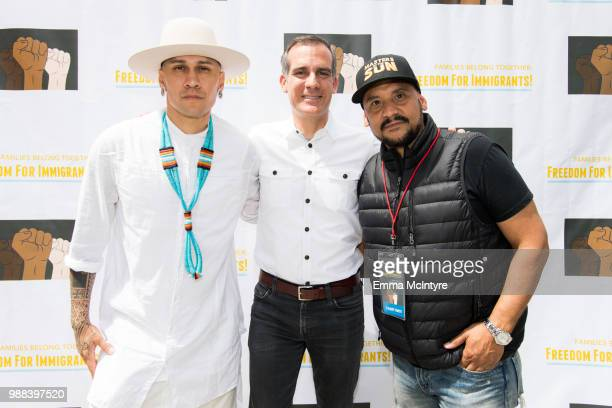 Musician Jaime Luis G—mez aka 'Taboo' and Mayor Eric Garcetti attend 'Families Belong Together Freedom for Immigrants March Los Angeles' at Los...