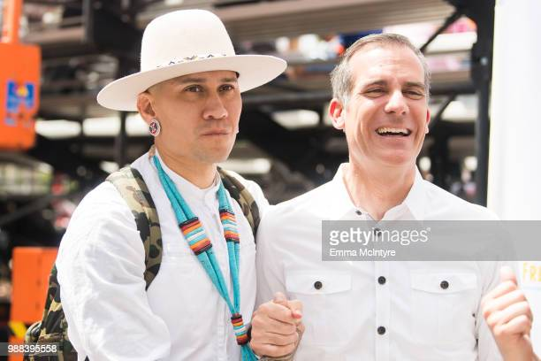 Musician Jaime Luis Gomez aka 'Taboo' and Mayor Eric Garcetti attend 'Families Belong Together Freedom for Immigrants March Los Angeles' at Los...