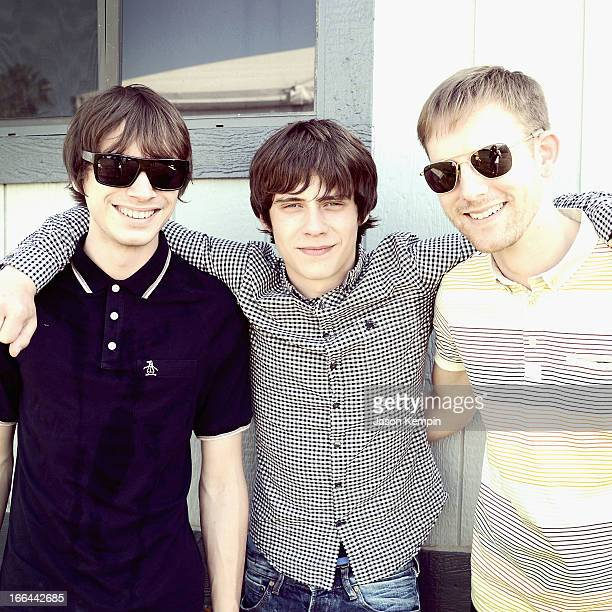 Musician Jake Bugg and band members pose backstage during day 1 of the 2013 Coachella Valley Music Arts Festival at the Empire Polo Club on April 12...