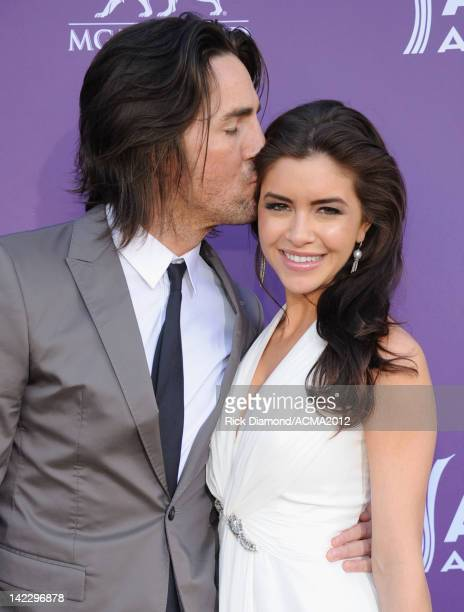 Musician Jake Owen and Lacey Buchanan arrive at the 47th Annual Academy Of Country Music Awards held at the MGM Grand Garden Arena on April 1 2012 in...