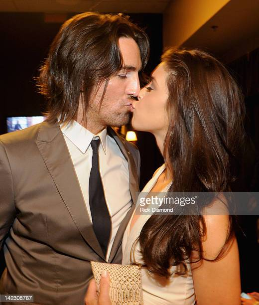 Musician Jake Owen and Lacey Buchanan pose backstage at the 47th Annual Academy Of Country Music Awards held at the MGM Grand Garden Arena on April 1...