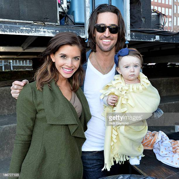 Musician Jake Owen Lacey Buchanan and daughter Pearl attend Dierks Bentley's 8th annual Miles Music for Kids at Riverfront Park on November 3 2013 in...
