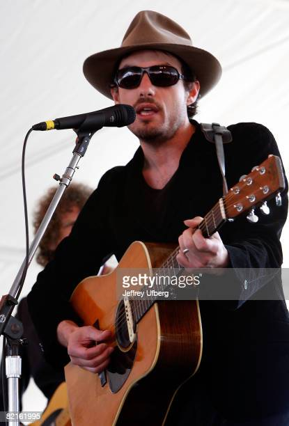 Musician Jakob Dylan performs during the 2008 Newport Folk Festival at Fort Adams State Park on August 2 2008 in Newport Rhode Island