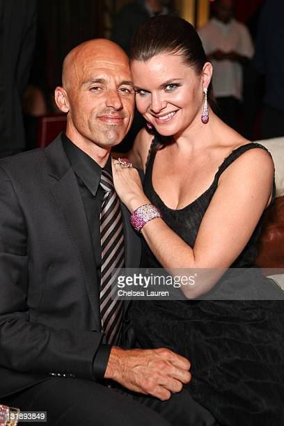 Musician James Achor and actress Heather Tom attend the Mark Lash Jewelry Showcase event at GOLD Nightclub on November 5 2011 in Las Vegas Nevada