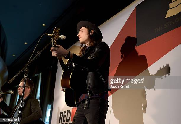 Musician James Bay attends Red Carpet Radio Backstage at the GRAMMYs presented by Westwood One during The 57th Annual GRAMMY Awards at the Staples...